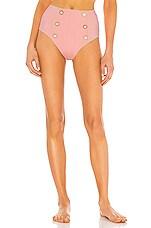 JONATHAN SIMKHAI Piped Luxe High Waisted Bikini Bottom in Cherry Blossom