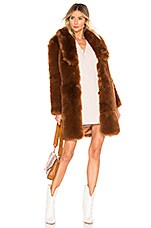 THE JETSET DIARIES Winter Time Love Faux Fur Coat in Sugar Brown