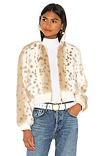 THE JETSET DIARIES Love Me Faux Fur Bomber Jacket in Ivory Snow Leopard