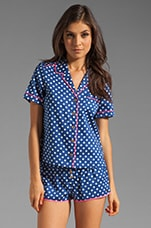 Josie Dot Sateen PJ Top in Atlantis with Helium Pink