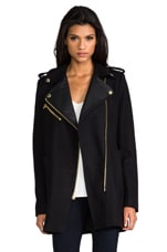 Juicy Couture Wool Melton Moto Coat in Pitch Black