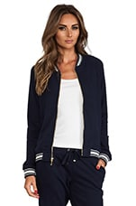 Racer Rib Bomber Jacket in Regal