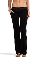 Velour Bootcut Pant with Snap Pockets in Black