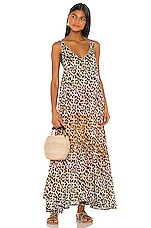 juliet dunn Tie Dye Leopard Print Maxi Dress in Turquoise, Pink & Peach