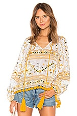 juliet dunn Tribal Print Swing Top with Tassels in Yellow