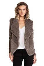 June Knit Fur Jacket With Leather Sleeves in Walnut