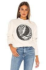 Junk Food Grateful Dead Glitter Sweatshirt in Vintage White