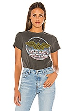 Junk Food Wonder Woman Logo Tee in Vintage Black