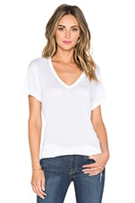 Sheer Jersey Classic V Neck in White