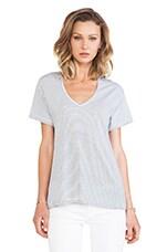 Helena V-Neck Shirt in Black/White Classic Stripe