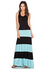 Biscot Maxi Dress in Black & Mint
