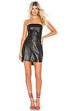 Karina Grimaldi Phoebe Leather Mini Dress in Black