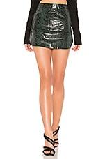 Karina Grimaldi Simon Leather Mini Skirt in Green Snake