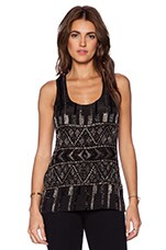 Guadalupe Beaded Tank in Ethnic Black