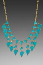 Kenneth Jay Lane Enamel Geo Drops Necklace in Turquoise