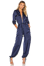 KENDALL + KYLIE Satin Convertible Cargo Jumpsuit in Navy