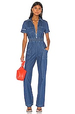 KENDALL + KYLIE Charlie Fashion Denim Jumpsuit in Soho Wash