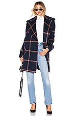 KENDALL + KYLIE Oversized Wool Coat in Blue Plaid