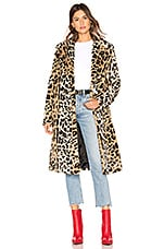KENDALL + KYLIE Faux Fur Long Coat in Leopard