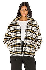 KENDALL + KYLIE Plaid Puffer Jacket in Black, White & Yellow