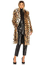 KENDALL + KYLIE Faux Fur Long Leopard Coat in Leopard