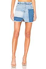 KENDALL + KYLIE Denim Patchwork Skirt in Light & Medium Wash
