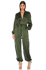 KENDALL + KYLIE x REVOLVE Satin Convertible Cargo Romper in Army Green