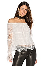 KENDALL + KYLIE Off Shoulder Lace Top in Bright White