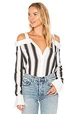 Stripe Off Shoulder Top in White & Grey