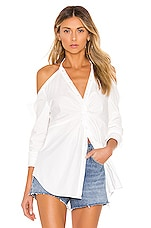 KENDALL + KYLIE Poplin Draped Tunic Top in White