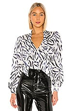 KENDALL + KYLIE Charmeuse Blouse in Zebra