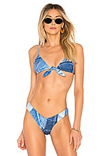 KENDALL + KYLIE Knot Front Bikini Top in Denim