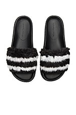 KENDALL + KYLIE Isla Slide in Black & White Faux Fur