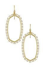Kendra Scott Open Frame Earrings in Gold Metal White CZ