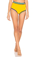 KIINI Ro High Waisted Bikini Bottom in Dark Yellow & Multi