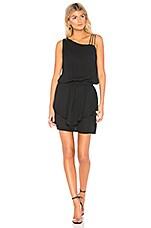 krisa Asymmetrical Layered Mini Dress in Black