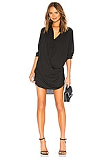 krisa Drape Button Front Mini in Black