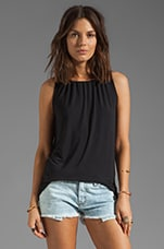 Shirred Halter Tank in Black