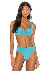 KYA Carmela Reversible Bikini Top in Marine & Sky