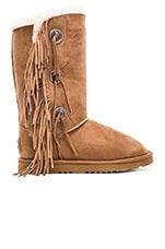 Trishka Tall Fringe Boot in Chestnut