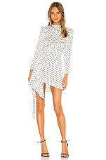 keepsake Foolish Long Sleeve Mini Dress in Porcelain With Black Polka Dot