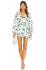 keepsake Fallen Long Sleeve Romper in Ivory With Jade Floral
