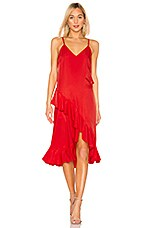 Kenzo Ruffle Slip Dress in Medium Red