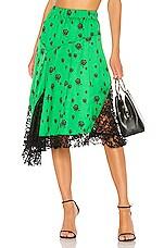 Kenzo Roses Midi Skirt in Bottle Green