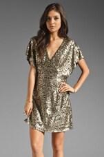 Ladakh Felicity Sequin Dress in Matte Gold