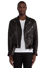 Laer Classic Leather Moto Jacket in Black