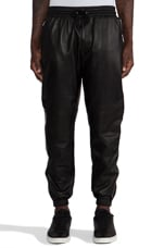 Leather Zip Pant in Black