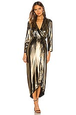 L'AGENCE Reliah Long Sleeve Wrap Dress in Gold & Black