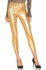 L'AGENCE Margot High Rise Skinny With Crackle Foil in Khaki & Gold Crackle