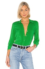 L'AGENCE Ryan 3/4 Sleeve Blouse in Gloss Green